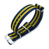 MiLTAT 18mm 20mm or 22mm G10 Military Watch Strap Ballistic Nylon Armband Polished Double Yellow and Blue Strapcode Watch Bands