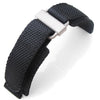 20mm 22mm MiLTAT Honeycomb Black Nylon Velcro Fastener Watch Strap Sandblasted Stainless Buckle XL Strapcode Watch Bands