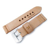 MiLTAT Zizz Collection 22mm Braided Calf Leather Watch Strap LV Beige Tan Stitches Strapcode Watch Bands