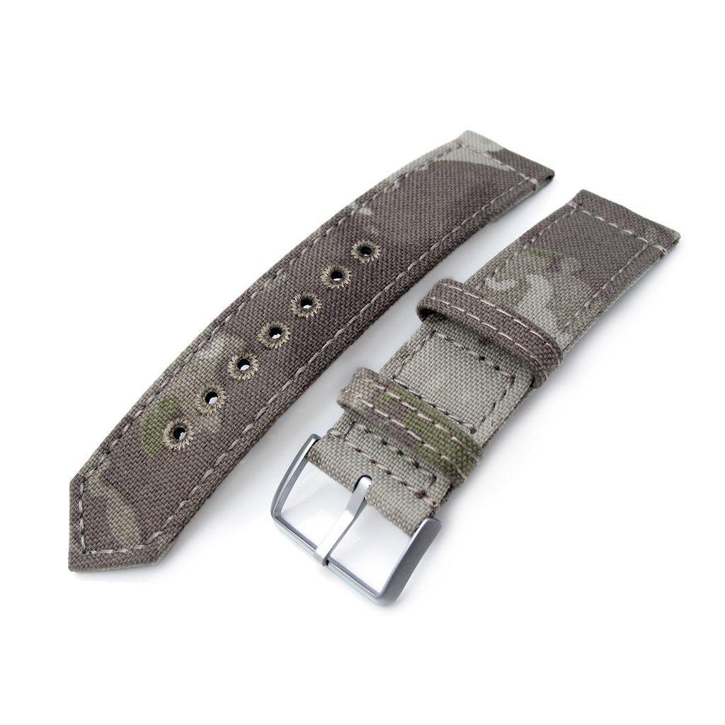20mm or 22mm MiLTAT WW2 2-piece Light Grey Camouflage Nylon Watch Band with lockstitch round hole Brushed Strapcode Watch Bands