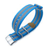 MiLTAT 22mm G10 NATO 3M Glow-in-the-Dark Watch Strap Brushed Blue and Grey Stripes Strapcode Watch Bands