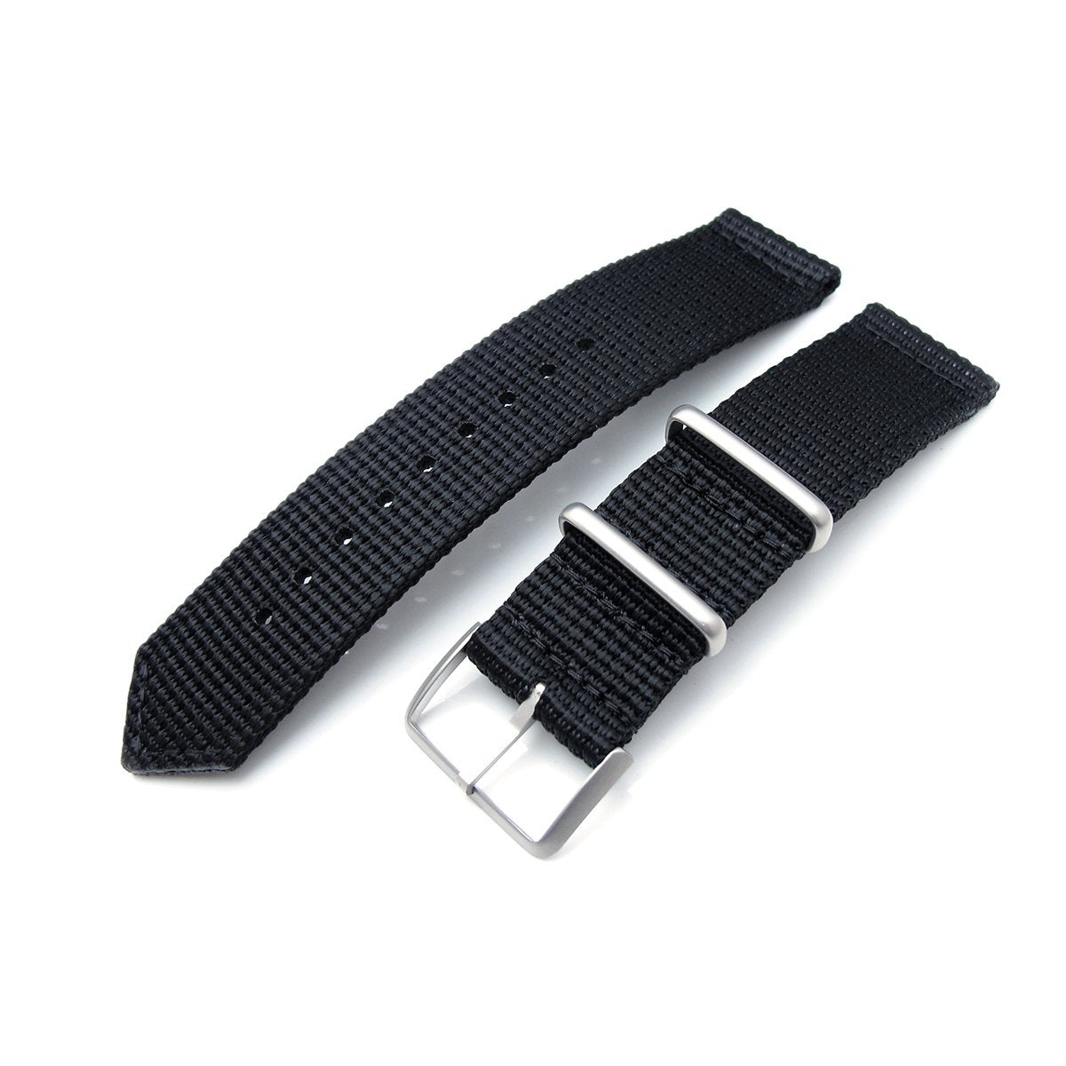 MiLTAT 20mm 22mm Two Piece WW2 G10 Black 3D Nylon Brushed Buckle Strapcode Watch Bands