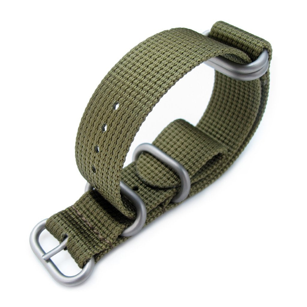 MiLTAT 20mm 22mm or 24mm 5 Rings G10 Zulu Water Repellent 3D Nylon Military Green Brushed Strapcode Watch Bands