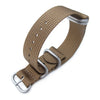 MiLTAT 20mm or 22mm 5 Rings G10 Zulu Water Repellent 3D Nylon Tan Brown Brushed Strapcode Watch Bands