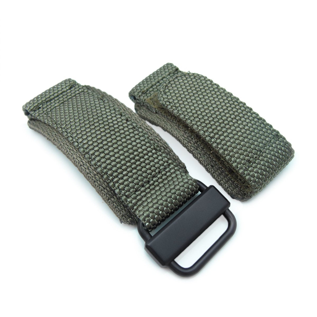 22mm MiLTAT Honeycomb Military Green Nylon Velcro Fastener Watch Strap PVD Black Stainless Buckle Strapcode Watch Bands