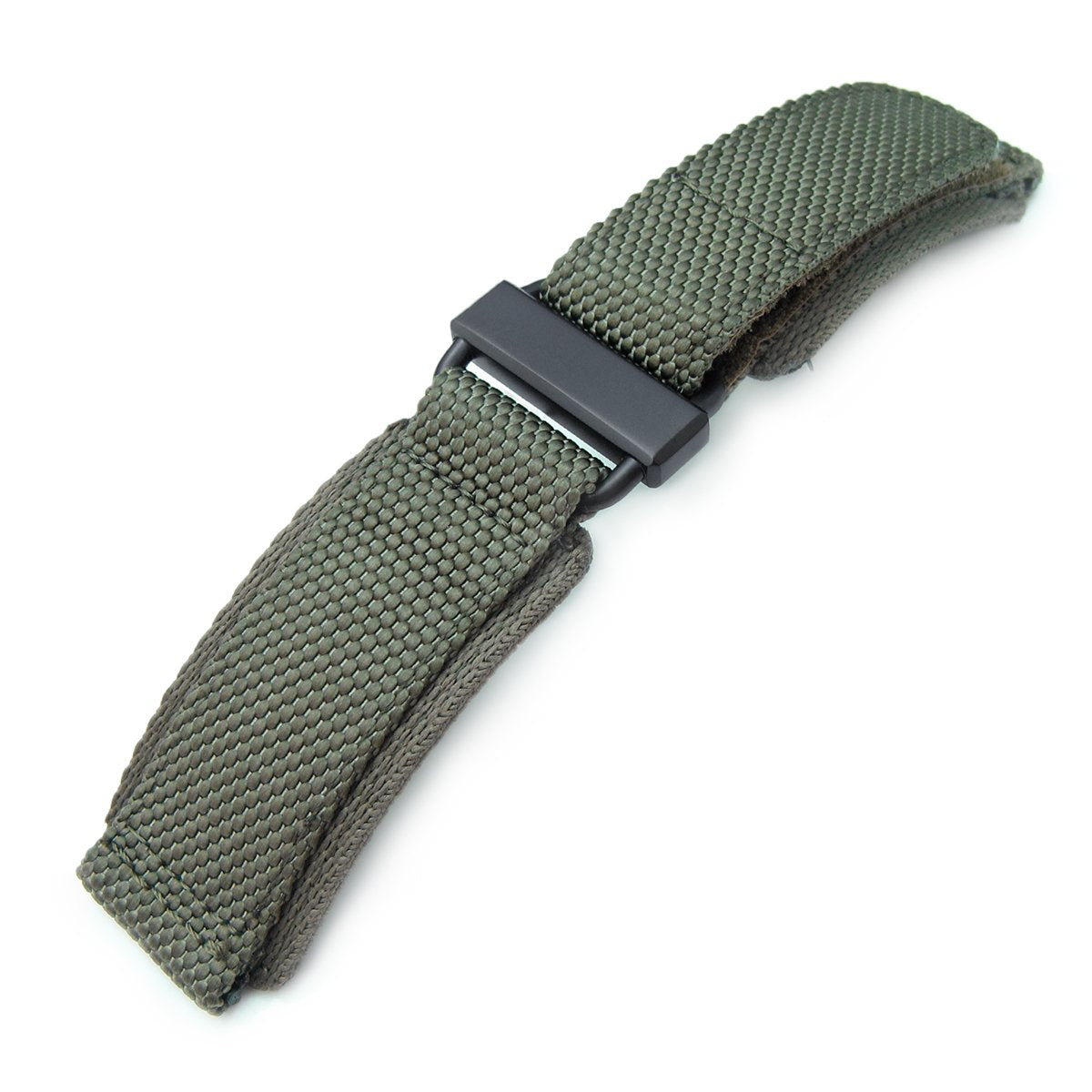 22mm MiLTAT Honeycomb Military Green Nylon Velcro Fastener Watch Strap PVD Black Stainless Buckle XL Strapcode Watch Bands