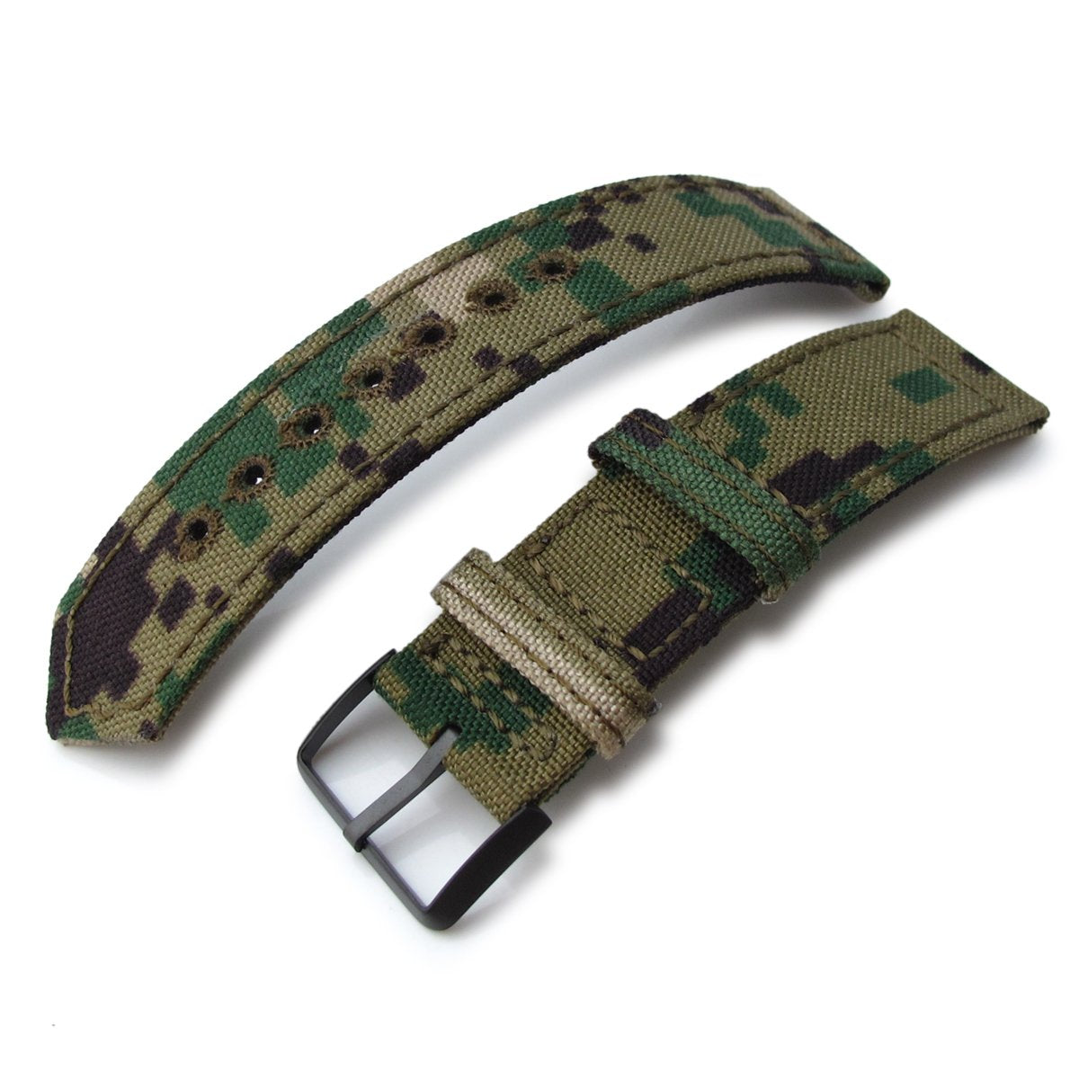 20mm 21mm or 22mm MiLTAT WW2 2-piece Woodland Camo Cordura 1000D Watch Band with lockstitch round hole PVD Black Strapcode Watch Bands