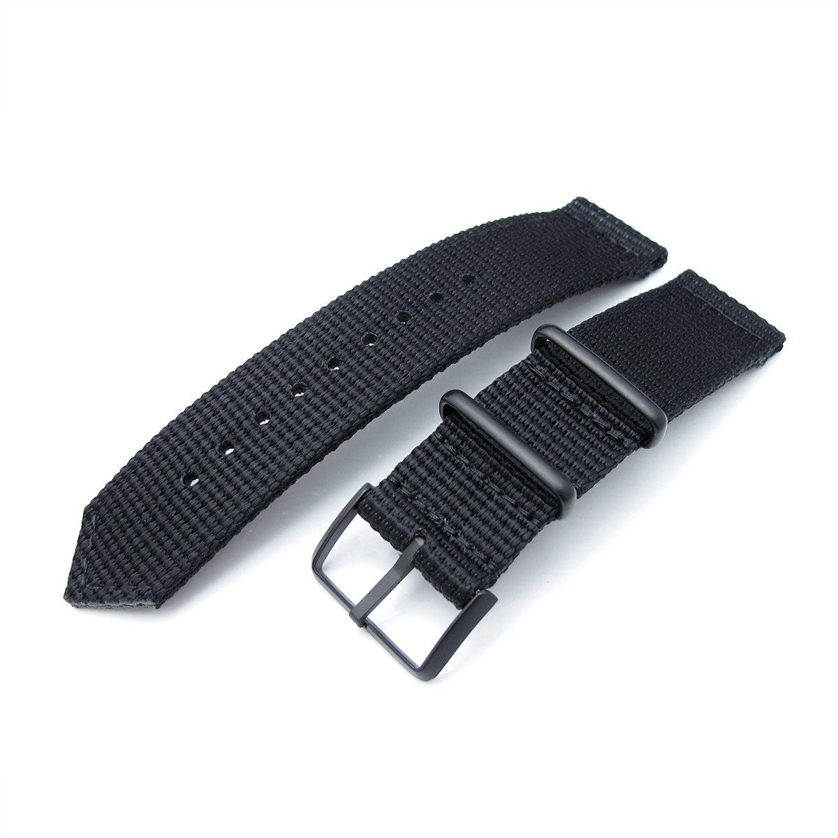 20mm 22mm Two Piece WW2 G10 Black 3D Nylon PVD Black Buckle Strapcode Watch Bands