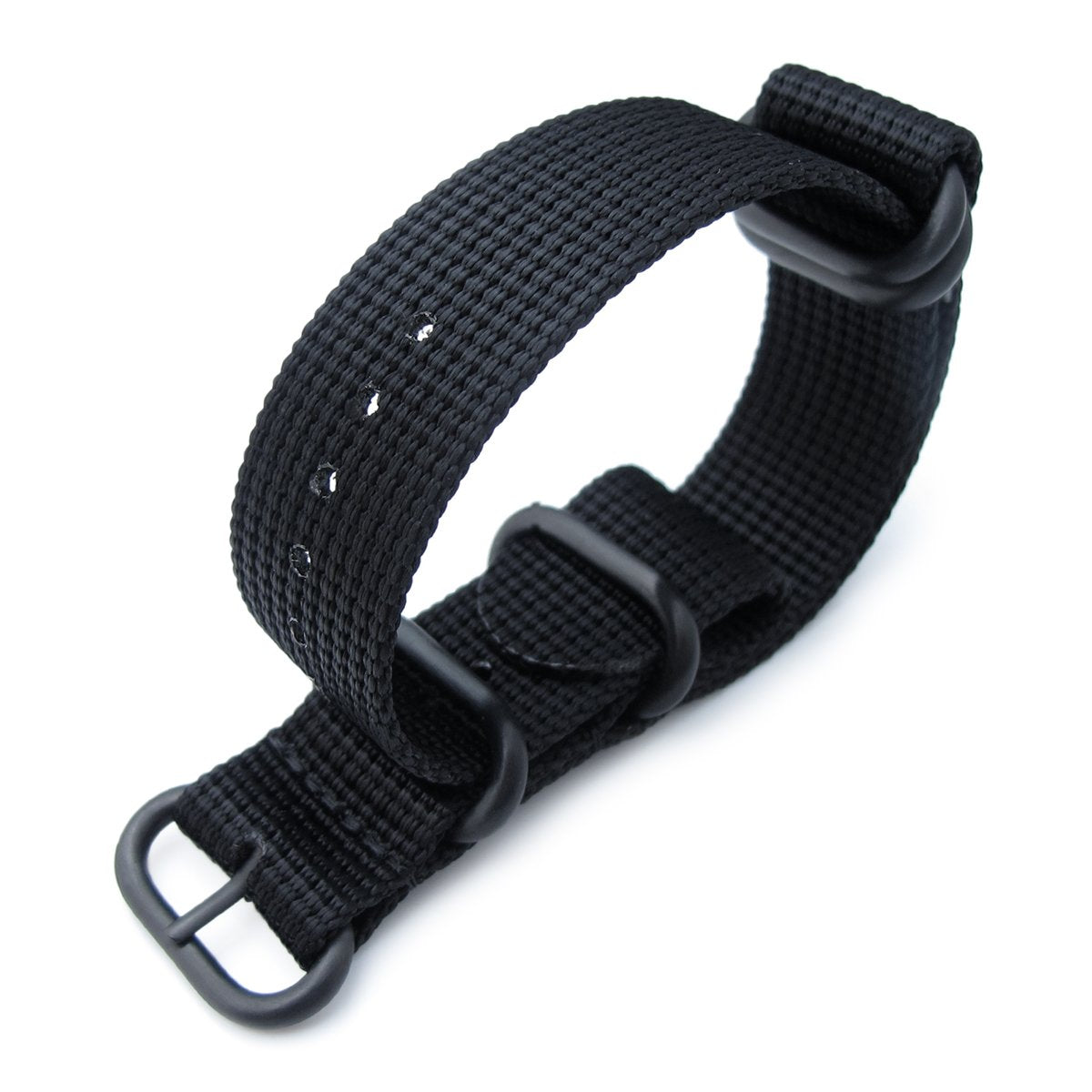 MiLTAT 20mm 22mm or 24mm 5 Rings G10 Zulu Water Repellent 3D Nylon Matte Black PVD Black Strapcode Watch Bands