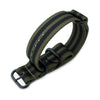 MiLTAT 22mm 3 Rings G10 Zulu Watch Strap Ballistic Nylon Armband Forest Green & Black Stripes PVD Black Buckle Strapcode Watch Bands