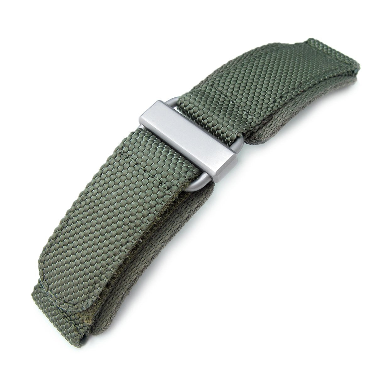 22mm MiLTAT Honeycomb Military Green Nylon Velcro Fastener Watch Strap Brushed Stainless Buckle Strapcode Watch Bands