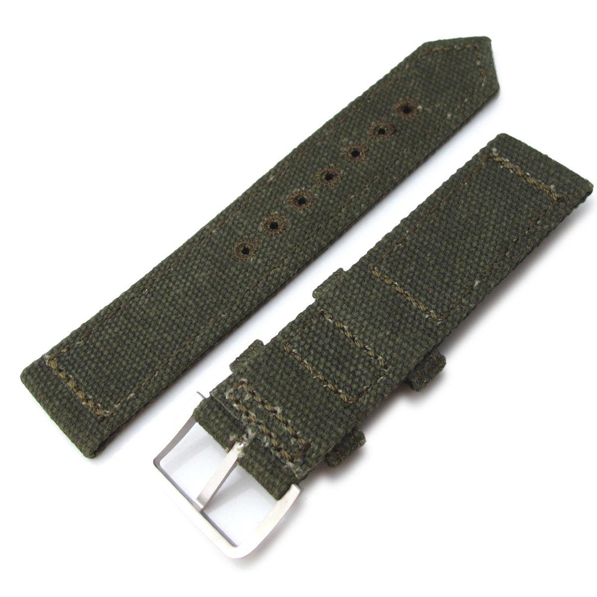 20mm 21mm or 22mm MiLTAT WW2 2-piece Military Green Washed Canvas Watch Band with lockstitch round hole Sandblasted Strapcode Watch Bands