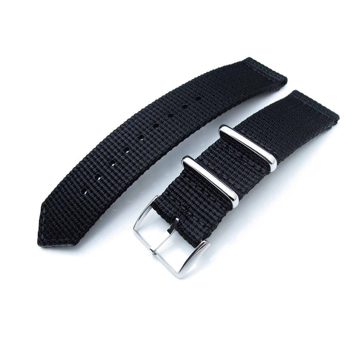 20mm 22mm Two Piece WW2 G10 Black 3D Nylon Polished Buckle Strapcode Watch Bands
