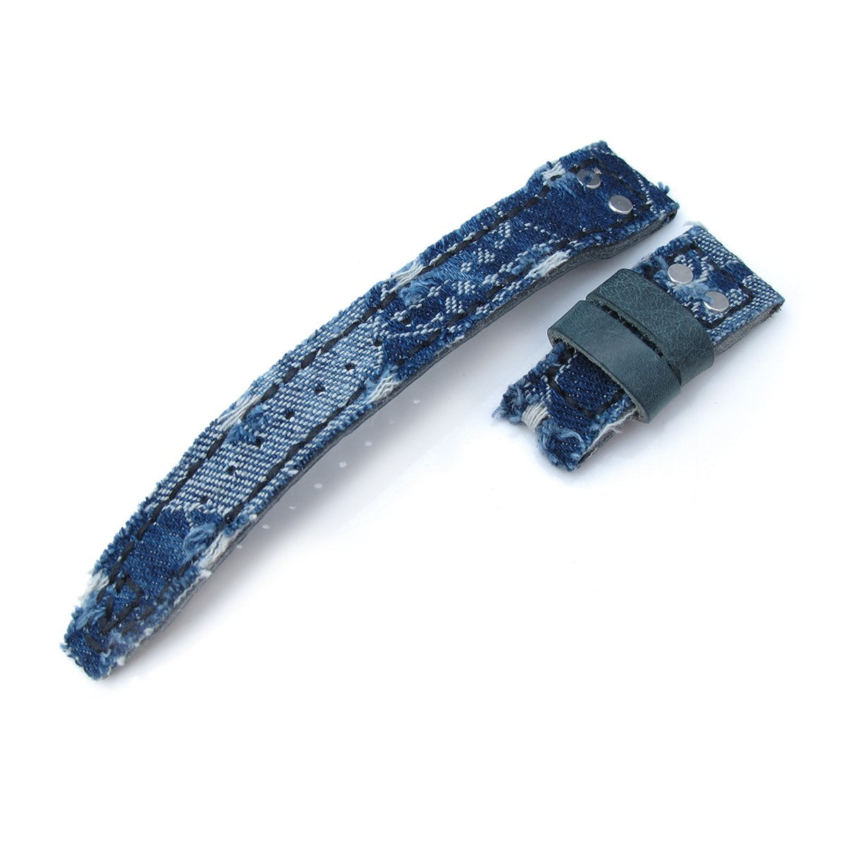 22mm MiLTAT Blue Distressed Denim IWC Big Pilot replacement Strap Rivet Lug Strapcode Watch Bands