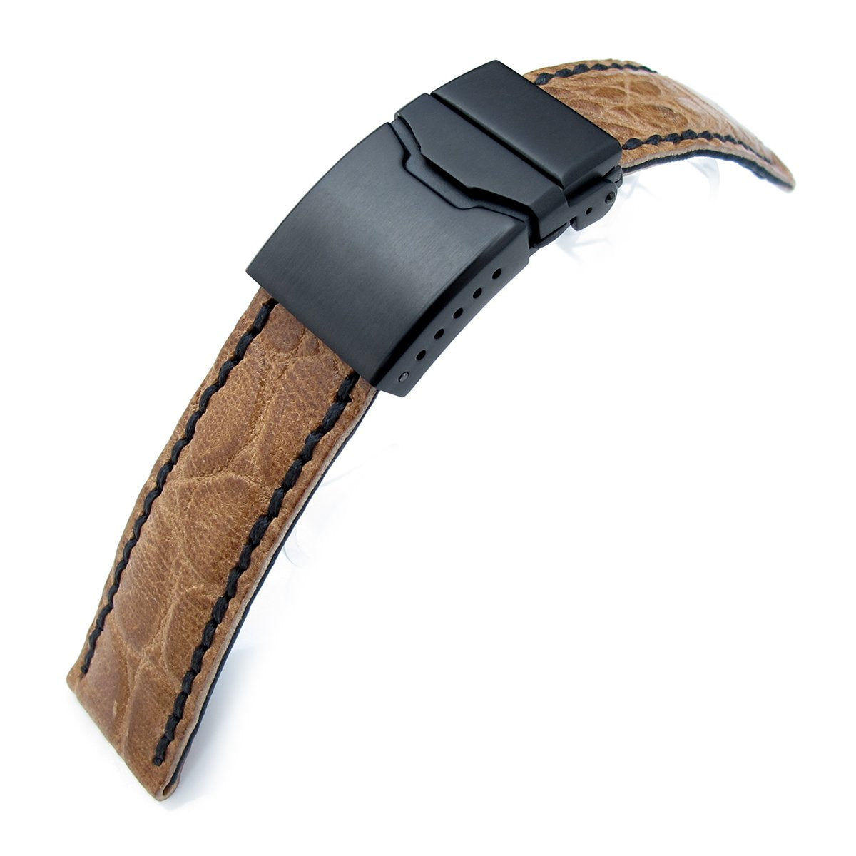 21mm CrocoCalf (Croco Grain) Honey Brown Watch Strap with Black Stitches Button Chamfer Clasp PVD Black Strapcode Watch Bands
