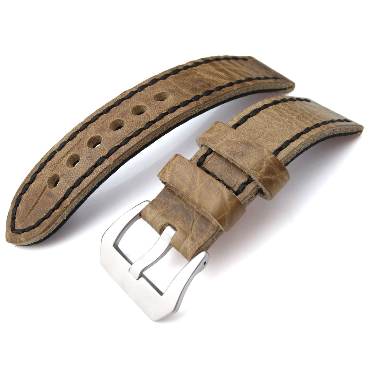 20, 21, 22mm CrocoCalf (Croco Grain) Honey Brown Watch Strap with Black Stitches Strapcode Watch Bands