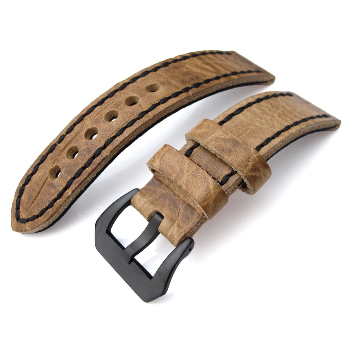 20 21 22mm CrocoCalf (Croco Grain) Honey Brown Watch Strap with Black Stitches PVD Strapcode Watch Bands