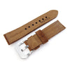 22mm MiLTAT Dark Brown Nubuck Leather Watch Band Brown Stitching Strapcode Watch Bands