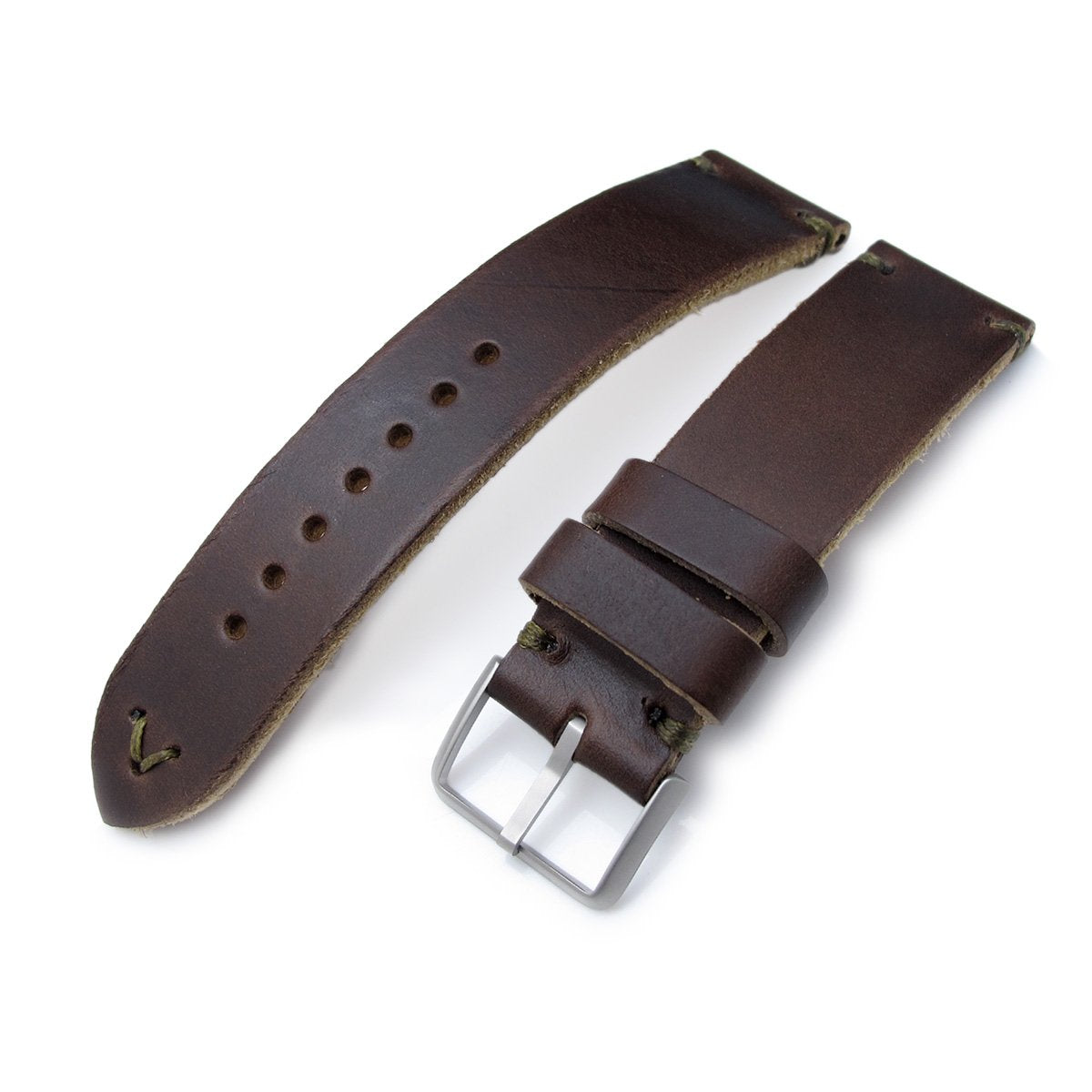 20mm 22mm MiLTAT Horween Chromexcel Watch Strap Matte Brown Military Green Stitching Strapcode Watch Bands