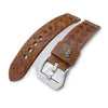 MiLTAT Zizz Collection 22mm Braided Calf Leather Watch Strap Tawny Brown Grey Stitches Strapcode Watch Bands