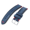 20mm 21mm 22mm MiLTAT Navy Blue Genuine Nubuck Leather Watch Strap Red Stitching Buckle Strapcode Watch Bands