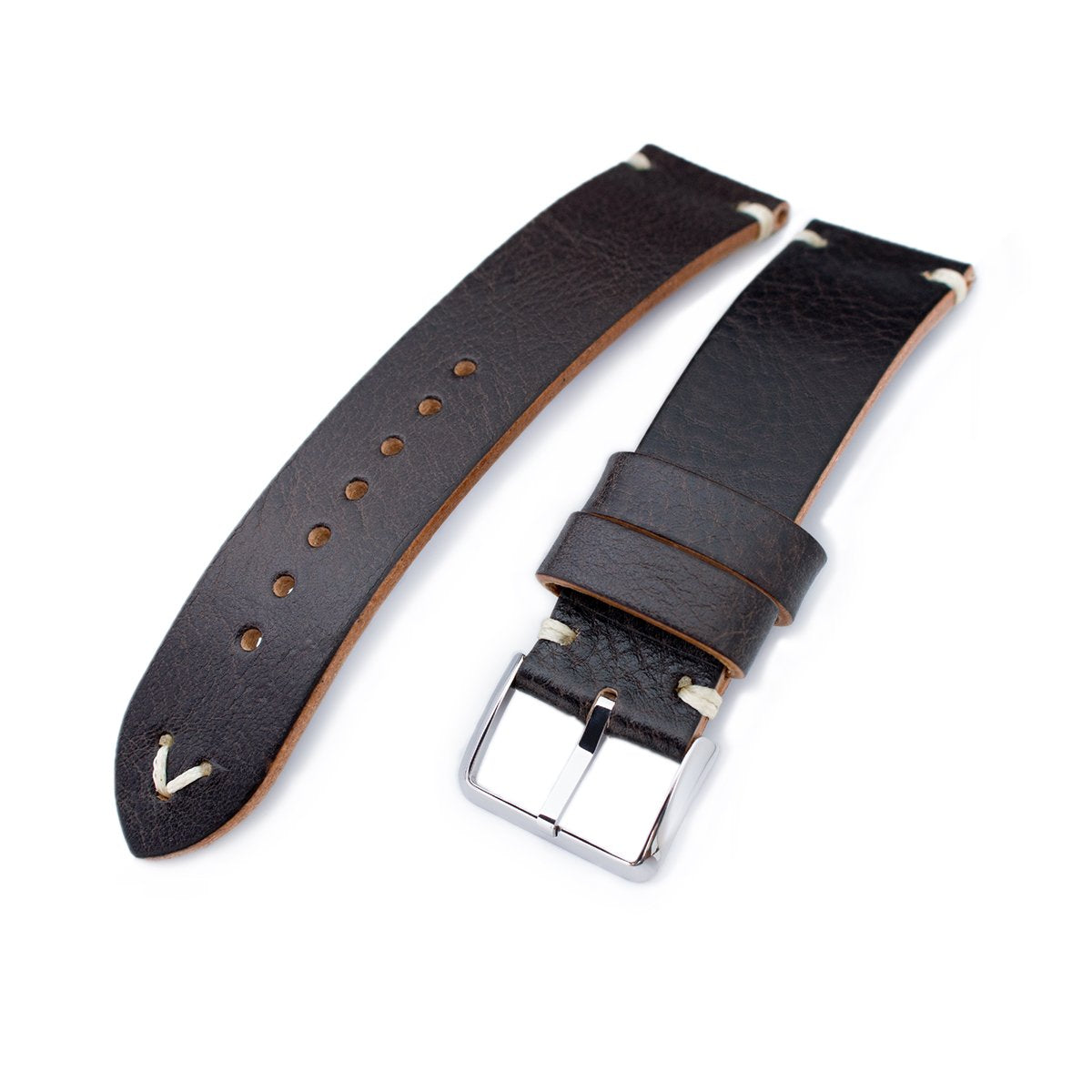 20mm 21mm 22mm MiLTAT Dark Brown Genuine Calf Leather Watch Strap Beige Stitching Polished Buckle Strapcode Watch Bands