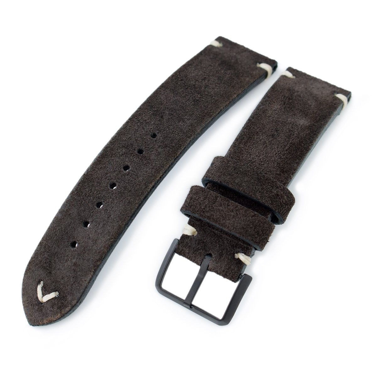 20mm 21mm 22mm MiLTAT Dark Brown Genuine Nubuck Leather Watch Strap Beige Stitching PVD Buckle Strapcode Watch Bands