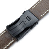 22mm MiLTAT Black Canvas Watch Strap Brushed Button Chamfer Clasp PVD Black Beige Wax Hand Stitches Strapcode Watch Bands