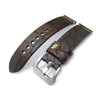 MiLTAT Zizz Collection 22mm Cracked Croco Dark Brown Watch Strap Beige Stitching Strapcode Watch Bands