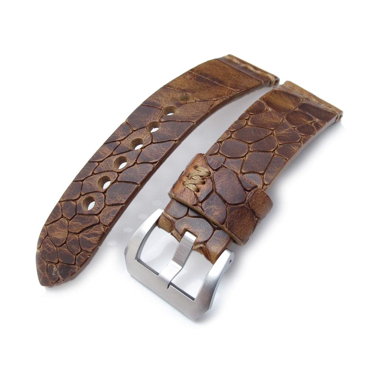 MiLTAT Zizz Collection 24mm Cracked Croco Middle Brown Watch Strap Brown Stitching Strapcode Watch Bands