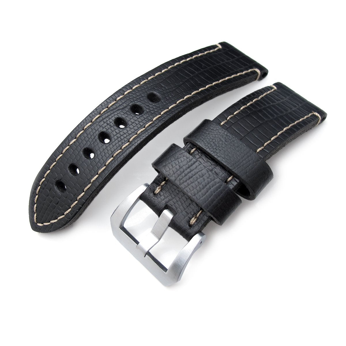 24mm MiLTAT HORWEEN Black Lizard Emboss Beige Hand Stitching Strapcode Watch Bands