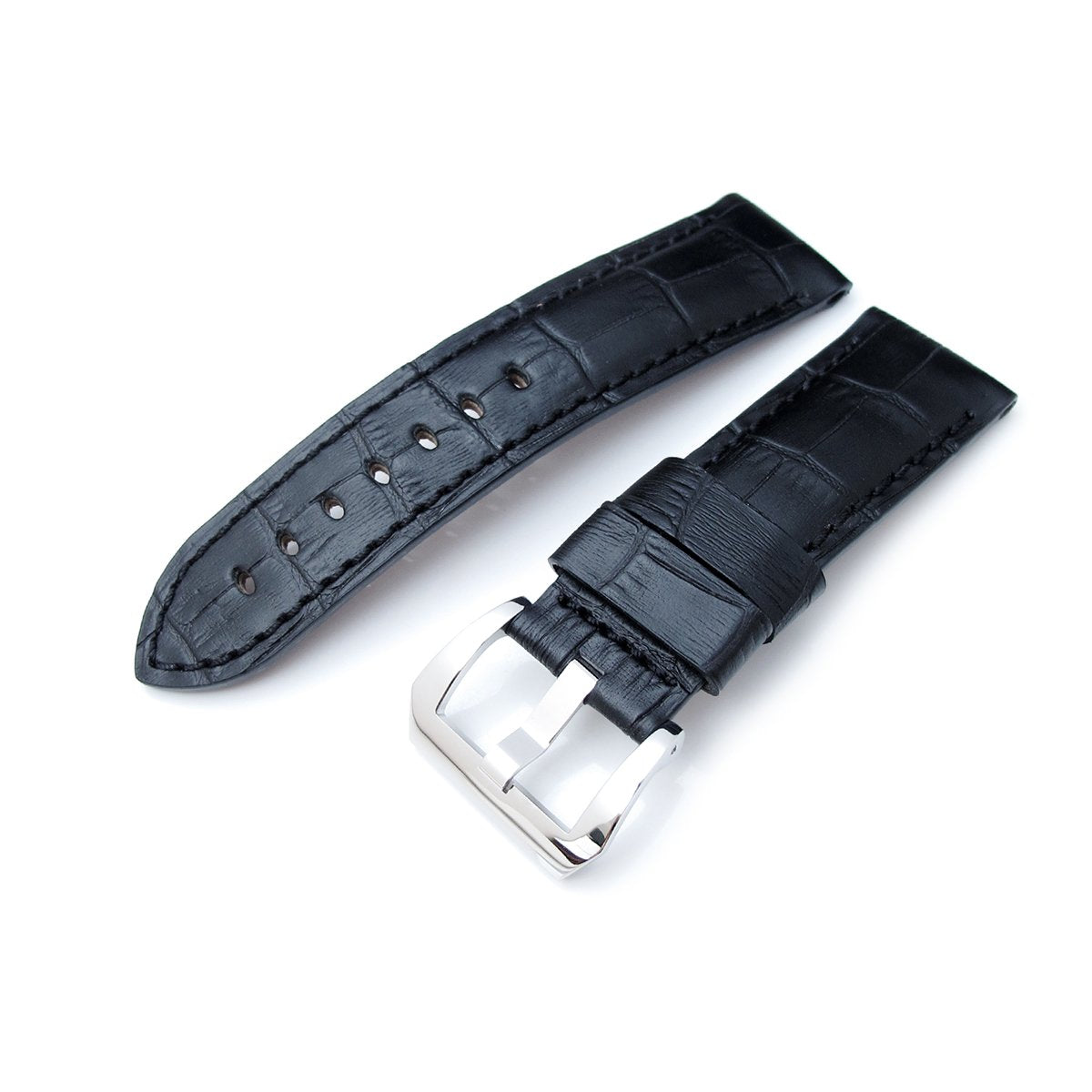 24mm CrocoCalf (Croco Grain) Matte Black Watch Strap with Black Stitches Polished Screw-in Buckle Strapcode Watch Bands
