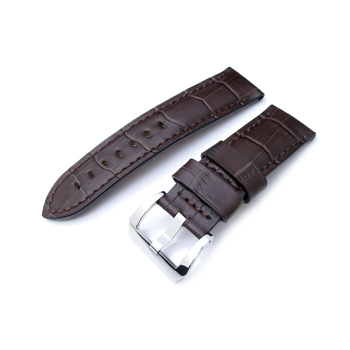 24mm CrocoCalf (Croco Grain) Matte Brown Watch Strap with Brown Stitches Polished Screw-in Buckle Strapcode Watch Bands