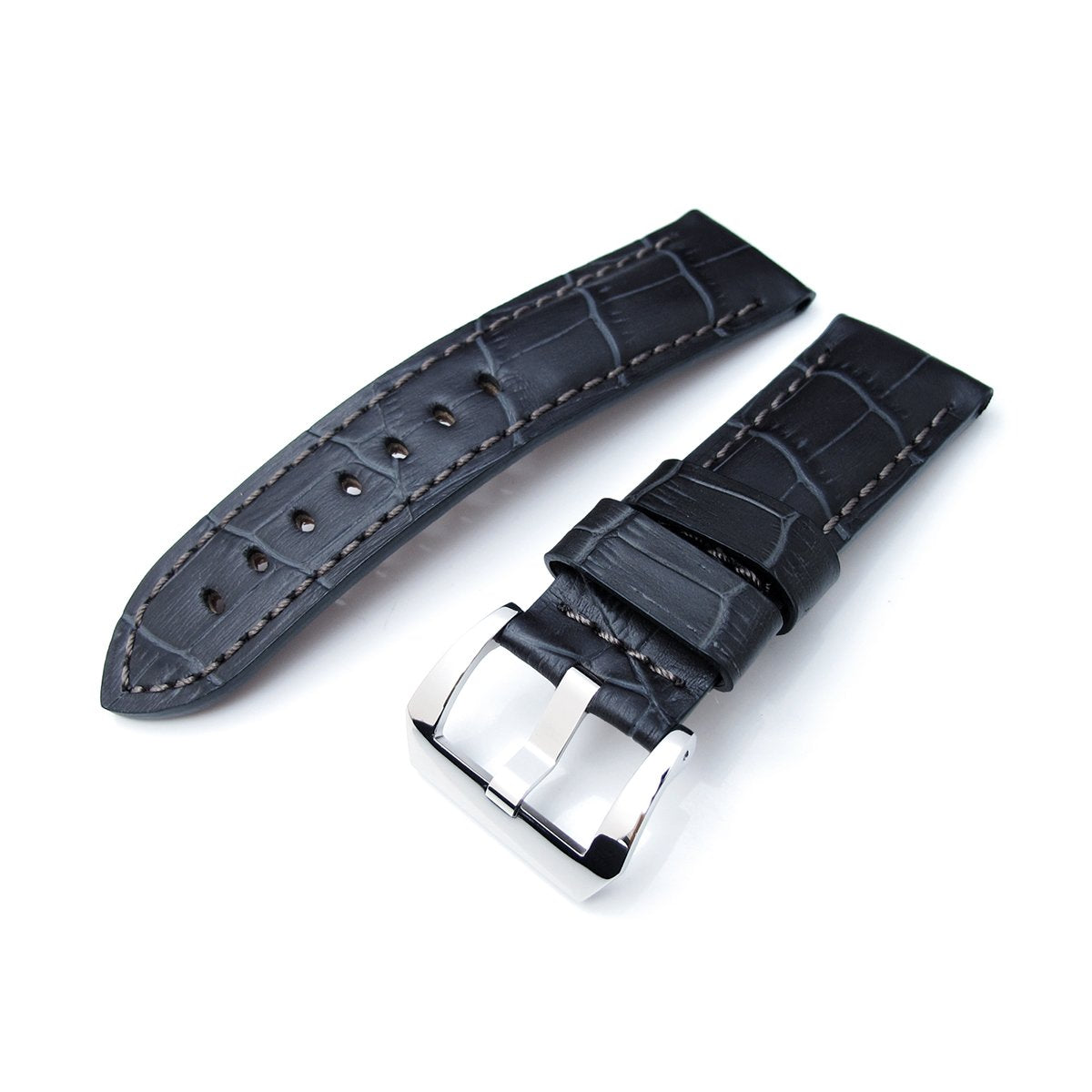 24mm CrocoCalf (Croco Grain) Matte Grey Watch Band Polished Screw-in Buckle Strapcode Watch Bands
