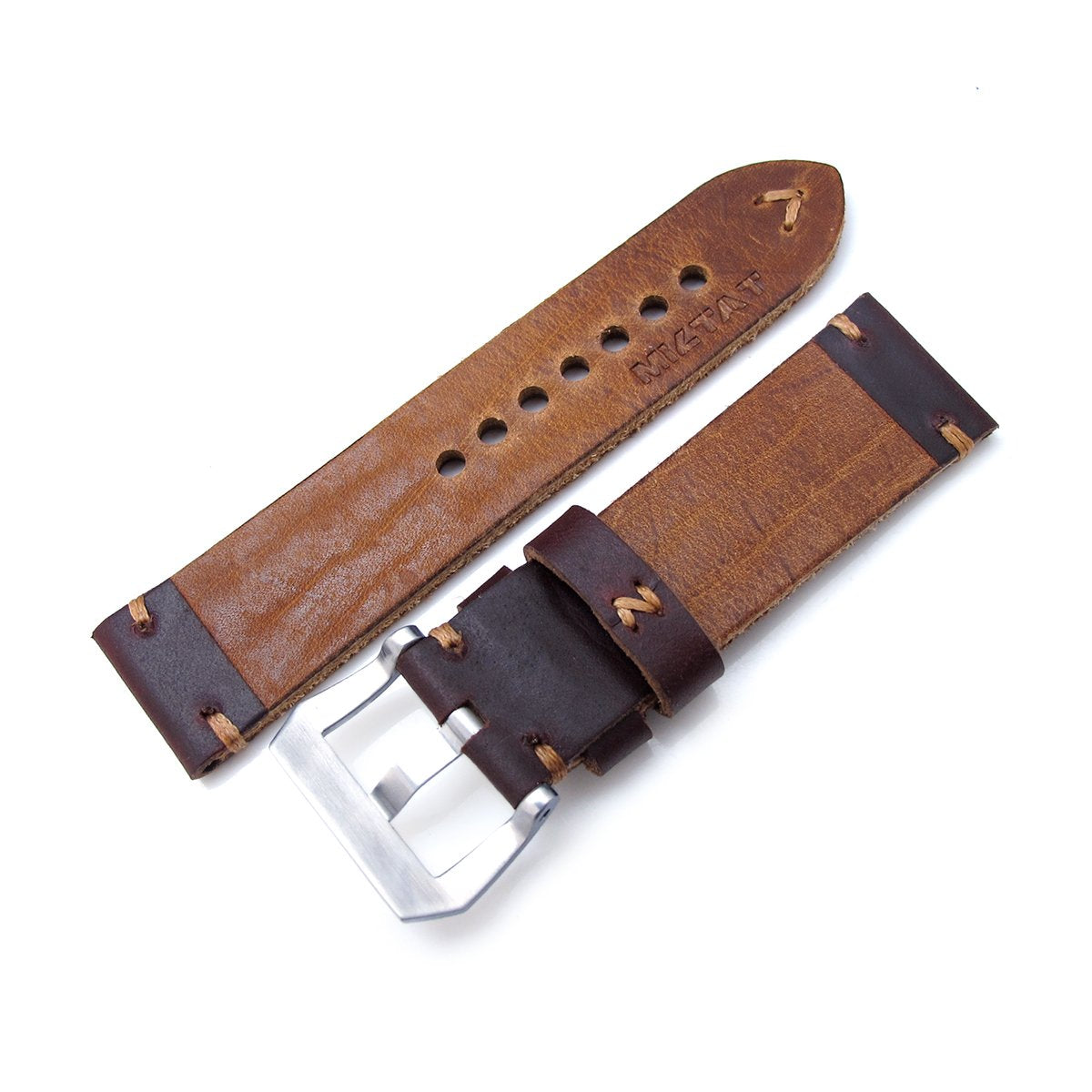 24mm MiLTAT Horween Chromexcel Watch Strap Burgundy Brown Brown Stitching Strapcode Watch Bands