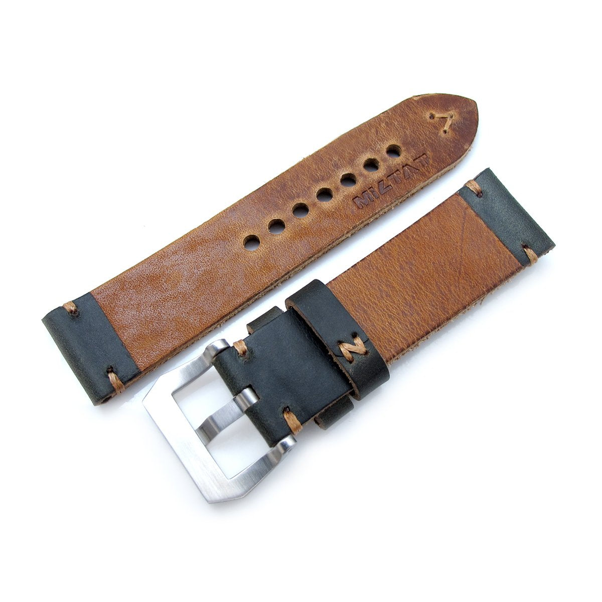 24mm MiLTAT Horween Chromexcel Watch Strap Blackish Green Brown Stitching Strapcode Watch Bands