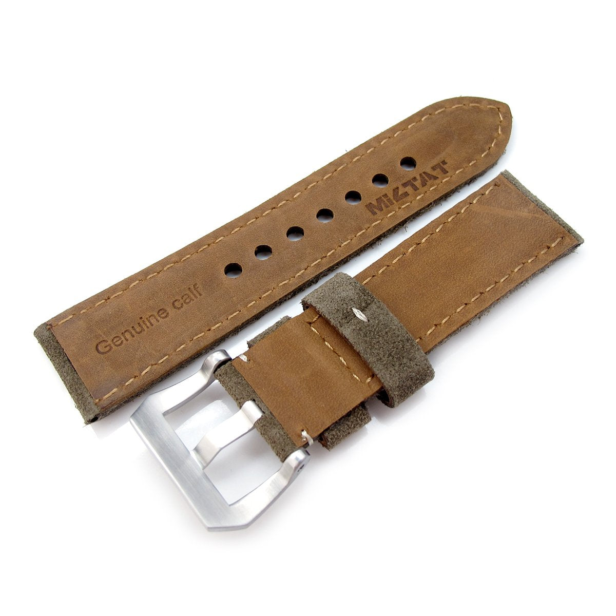 24mm MiLTAT Military Green Nubuck Leather Watch Band Beige Stitching Strapcode Watch Bands