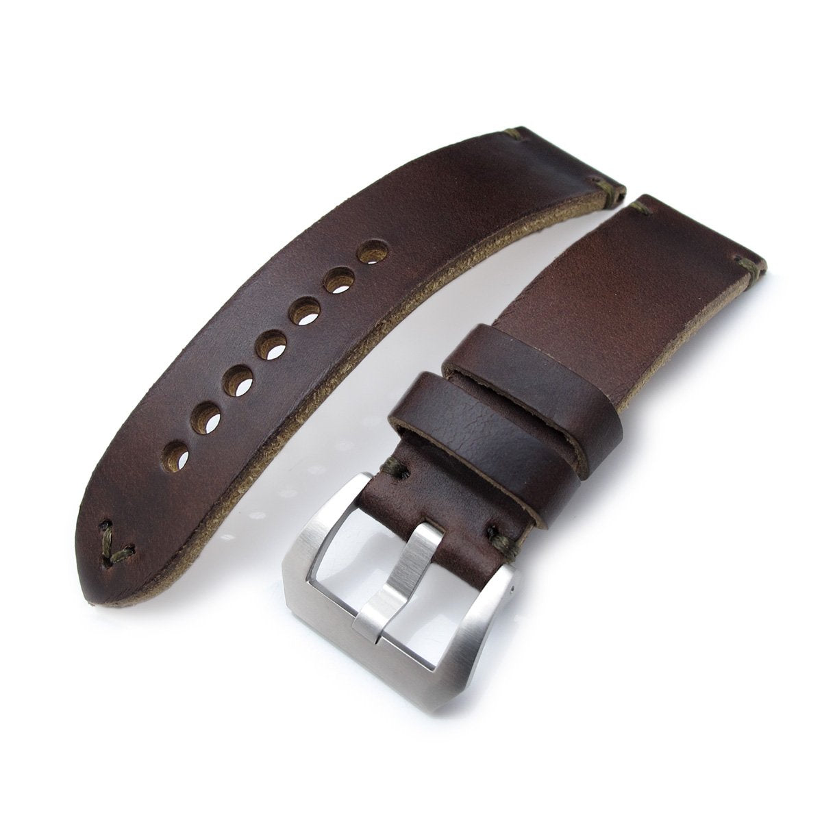 24mm MiLTAT Horween Chromexcel Watch Strap Matte Brown Military Green Stitching Strapcode Watch Bands