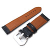 24mm CrocoCalf (Croco Grain) Matte Black Watch Strap with Grey Stitches Strapcode Watch Bands