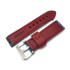 24mm MiLTAT Zizz Collection Distressed Denim Watch Strap Red Wax Hand Stitching Strapcode Watch Bands
