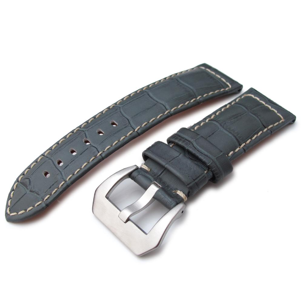 24mm CrocoCalf (Croco Grain) Light Grey Watch Strap with Beige Stitches Strapcode Watch Bands