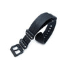 24mm MiLTAT G10 Grezzo SQ ZULU Watch Strap Matte Nero Black Geniune Calf PVD Black Strapcode Watch Bands