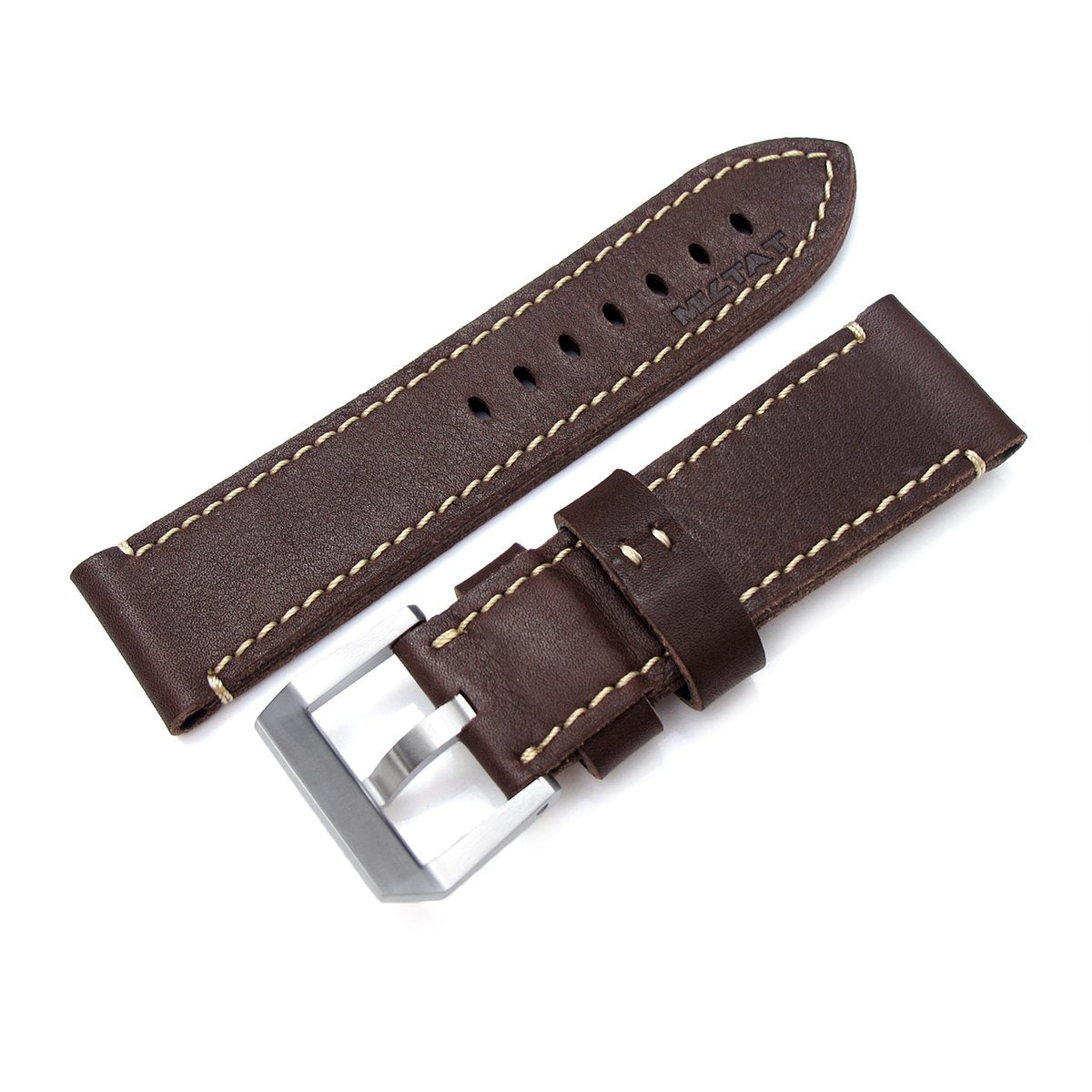 26mm MiLTAT Cashmere Calf Dark Brown Watch Strap Beige Hand Stitching Strapcode Watch Bands