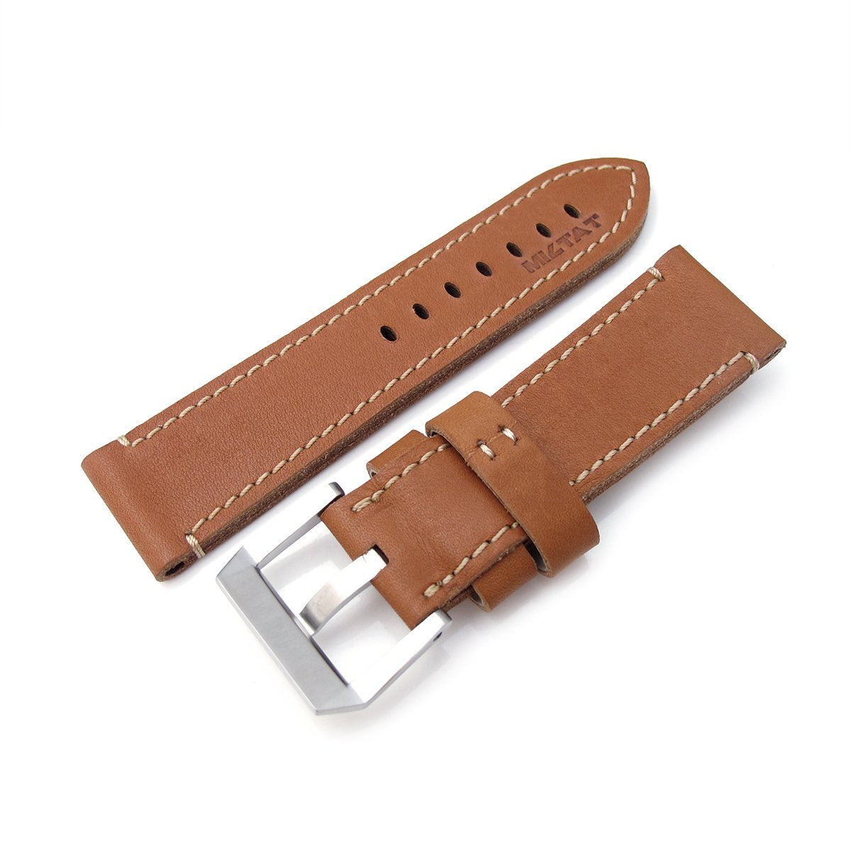 26mm MiLTAT Cashmere Calf Tan Color Watch Strap Beige Hand Stitching Strapcode Watch Bands