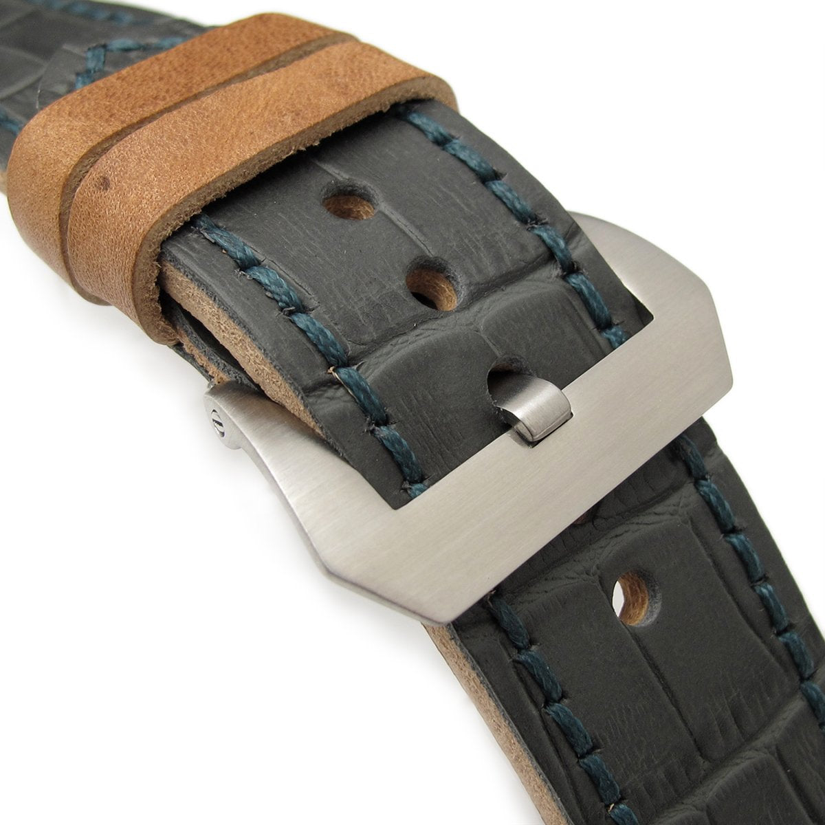 26mm MiLTAT Antipode Watch Strap Dark Grey CrocoCalf in Lake Blue Hand Stitches Strapcode Watch Bands