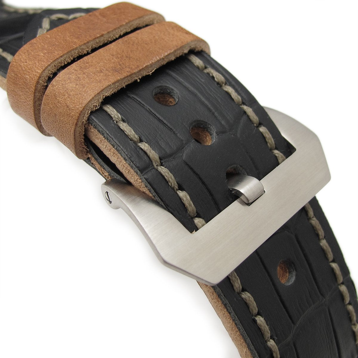26mm MiLTAT Antipode Watch Strap Matte Black CrocoCalf in Grey Hand Stitches Strapcode Watch Bands