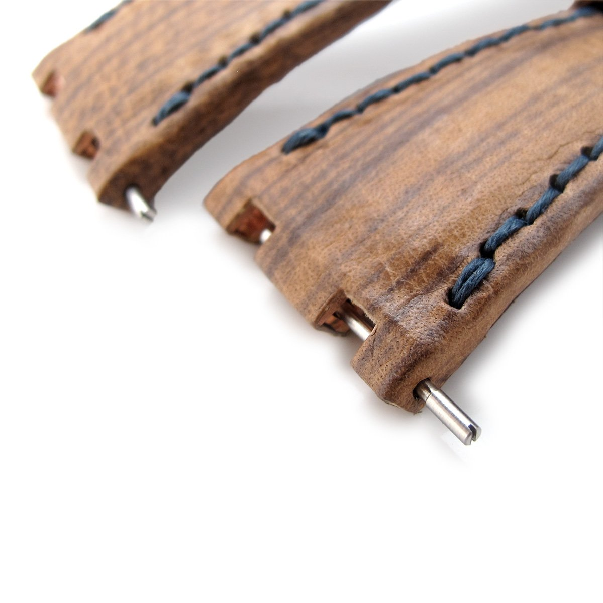 Brown Oak Wood Leather of Art Watch Strap Wax thread Dark Navy Stitching custom made for Audemars Piguet Royal Oak Offshore Strapcode Watch Bands