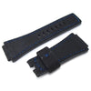 MiLTAT Black Washed Canvas for Bell & Ross replacement Strap Blue Stitches Strapcode Watch Bands