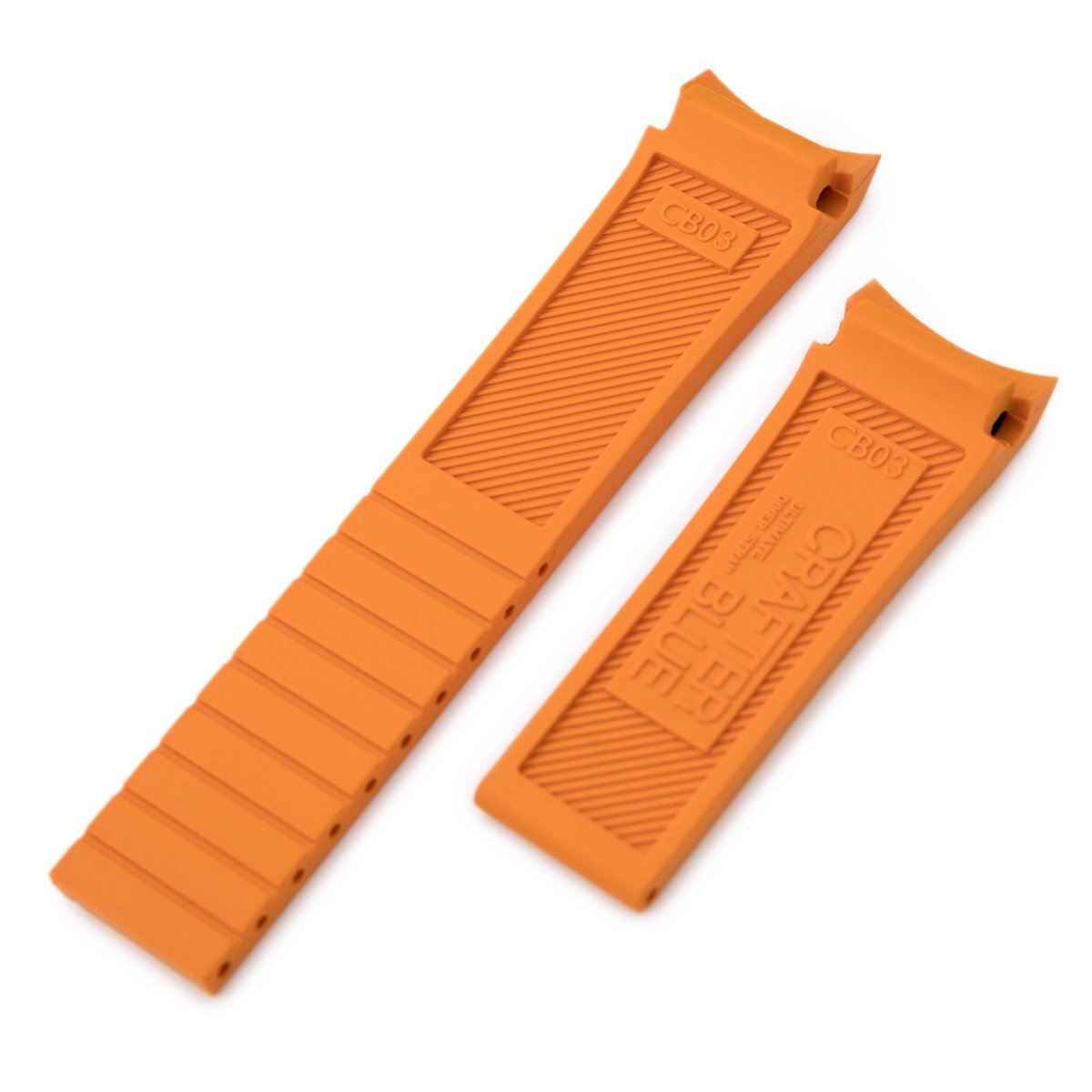 20mm Crafter Blue Orange Rubber Curved Lug Watch Band for Seiko MM300 Prospex Marinemaster SBDX001 Strapcode Watch Bands