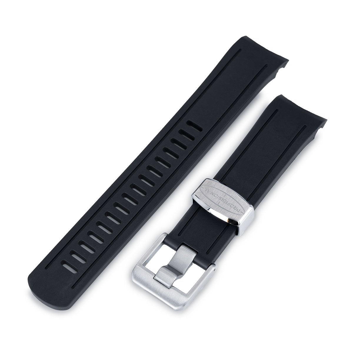 22mm Crafter Blue Black Rubber Curved Lug Watch Band for Seiko 5 Strapcode Watch Bands